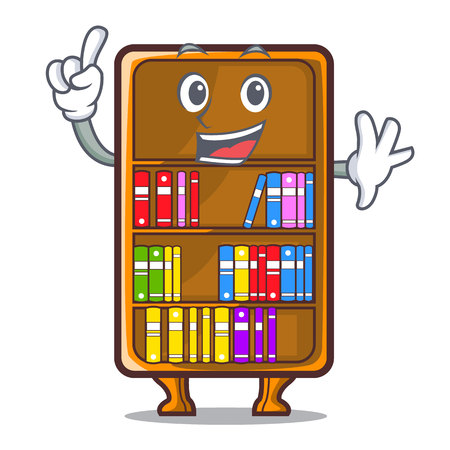 Finger cartoon bookcase in the study room vector illustration Illustration