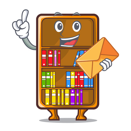 With envelope cartoon bookcase in the shape wood vector illustration Illustration