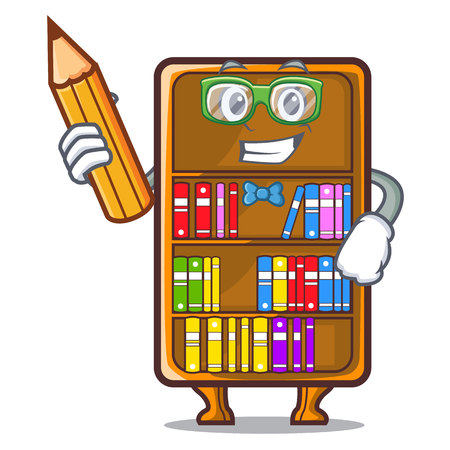 Student cartoon bookcase in the shape wood vector illustration
