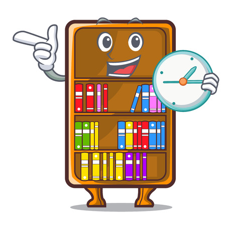 With clock cartoon bookcase in the shape wood vector illustration