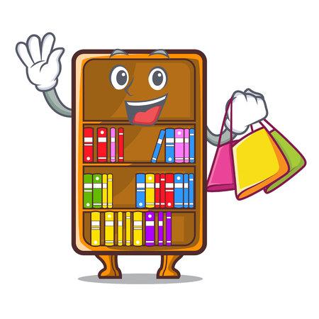Shopping cartoon bookcase in the shape wood vector illustration Illustration
