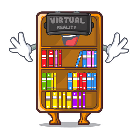 Virtual reality bookcase isolated in the with characters vec tor illustration