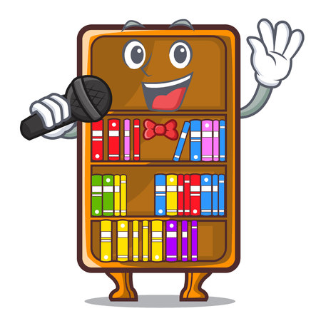 Singing bookcase isolated in the with characters vec tor illustration