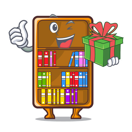With gift bookcase isolated in the with characters vec tor illustration