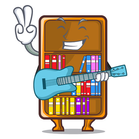 With guitar bookcase isolated in the with characters vec tor illustration