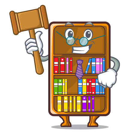 Judge cartoon bookcase in the study room vector illustration