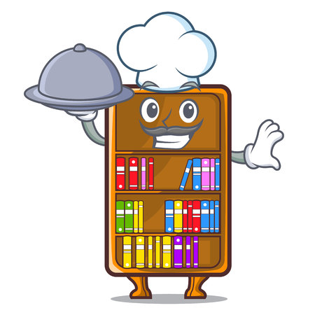 Chef with food bookcase isolated in the with characters vec tor illustration Ilustração