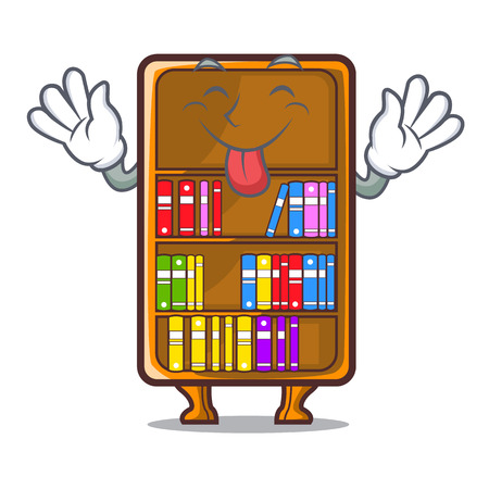 Tongue out cartoon bookcase in the study room vector illustration