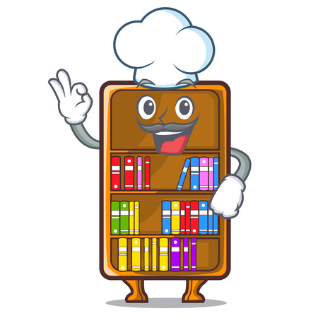 Chef cartoon bookcase in the shape wood vector illustration