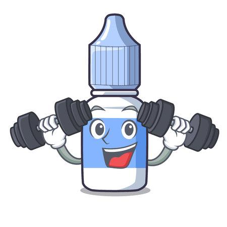 Fitness eye drops small bottle of character vector illustration