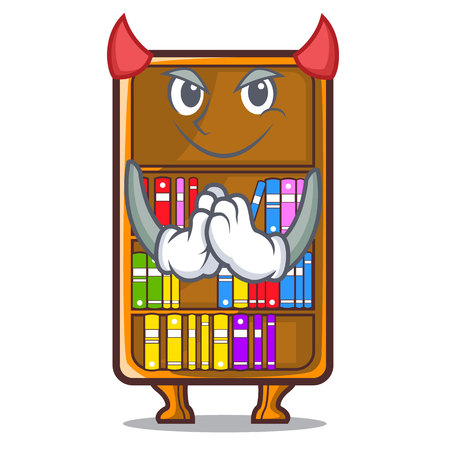 Devil bookcase isolated in the with characters vec tor illustration Ilustração