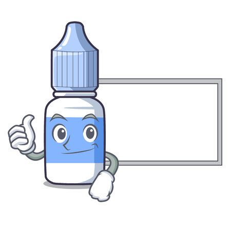 Thumbs up with board eye drops small bottle of character vector illustration