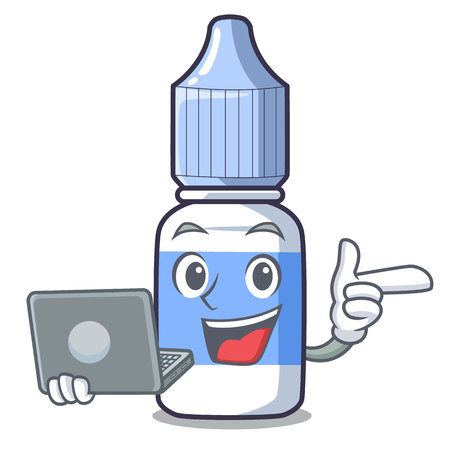 With laptop eye drops small bottle of character