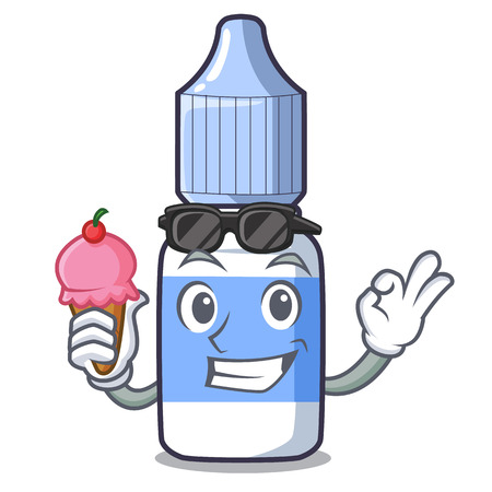 With ice cream eye drops above mascot wood tables vector illustration