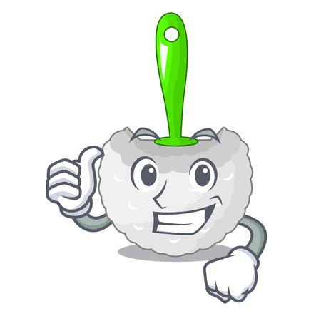 Thumbs up cartoon toilet brush in the bathroom vector illustration