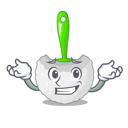 Grinning cartoon toilet brush in the bathroom vector illustration