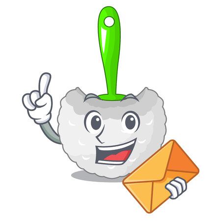 With envelope cartoon toilet brush in the bathroom vector illustration