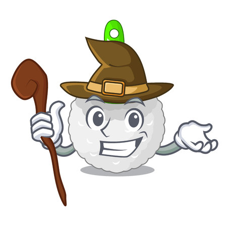 Witch toilet brush isolated in a cartoon vector illustration Illustration