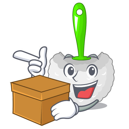 With box cartoon toilet brush in the bathroom vector illustration