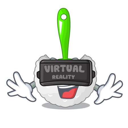 Virtual reality toilet brush isolated in a cartoon vector illustration Illustration