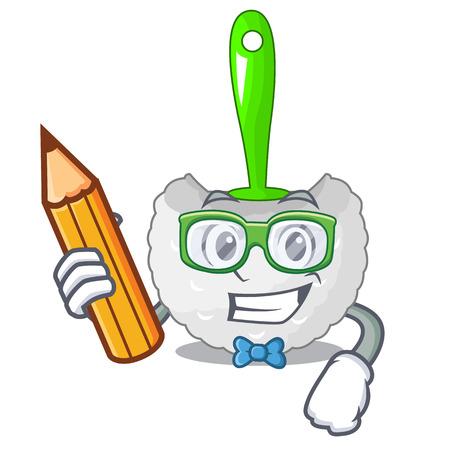Student cartoon toilet brush in the bathroom vector illustration
