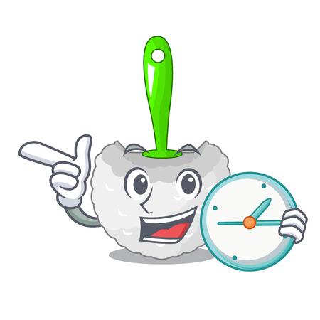 With clock cartoon toilet brush in the bathroom vector illustration