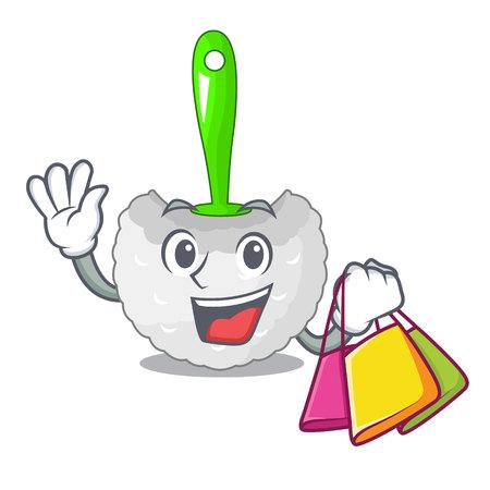 Shopping cartoon toilet brush in the bathroom vector illustration