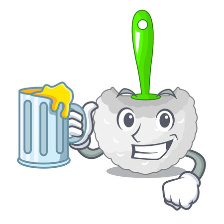 With juice toilet brush isolated in a cartoon vector illustration