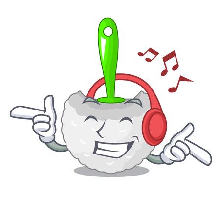 Listening music toilet brush isolated in a cartoon vector illustration
