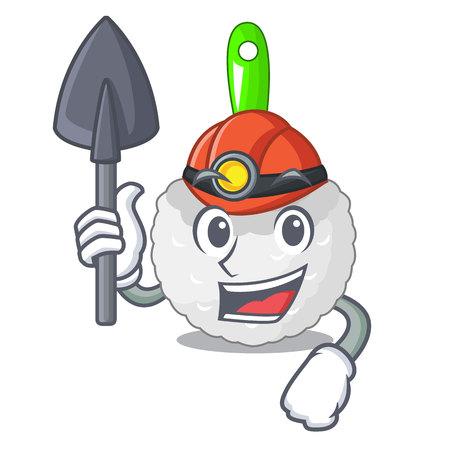 Miner toilet brush isolated in a cartoon vector illustration