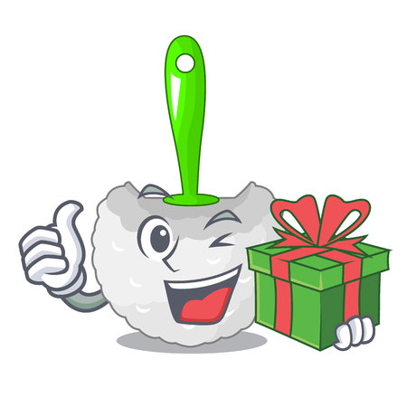 With gift toilet brush isolated in a cartoon vector illustration