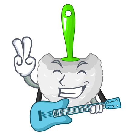 With guitar toilet brush isolated in a cartoon vector illustration Illustration