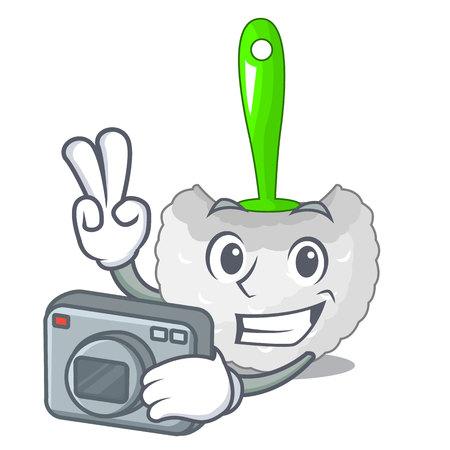 Photographer toilet brush isolated in a cartoon vector illustration