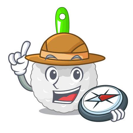 Explorer toilet brush isolated in a cartoon vector illustration