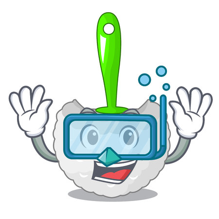 Diving cartoon toilet brush in the bathroom vector illustration