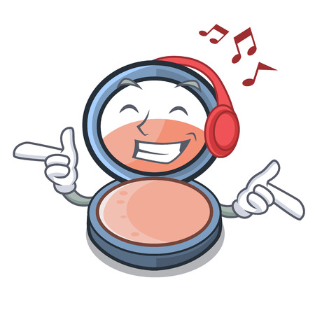 Listening music blosh on the mascot dressing table vector illustration
