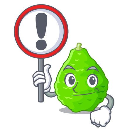 With sign kaffir lime basket of vegetable mascot vector illustration
