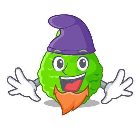 Elf kaffir lime basket of vegetable mascot vector illustration