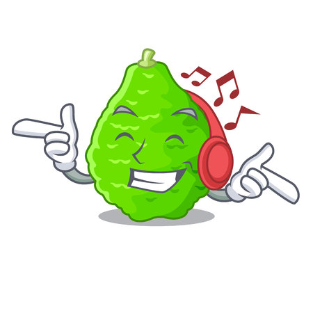 Listening music kaffir lime in the character shape vector illustration Vectores