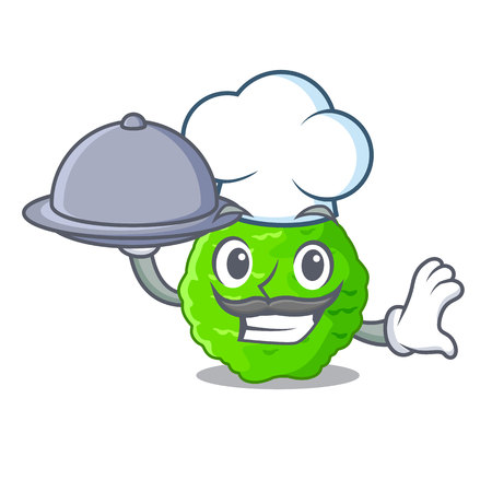 Chef with food kaffir lime in the character shape