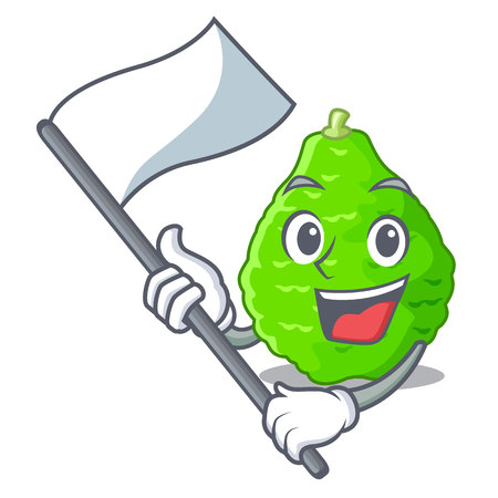 With flag Lime kaffir is isolated with cartoons vector illustration