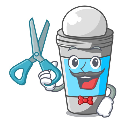 Barber roll on deodorant above the mascot vector illustration