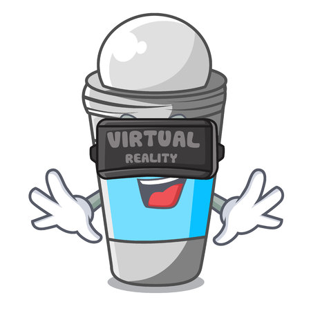Virtual reality deodorant rolls on in character bags vector illustration