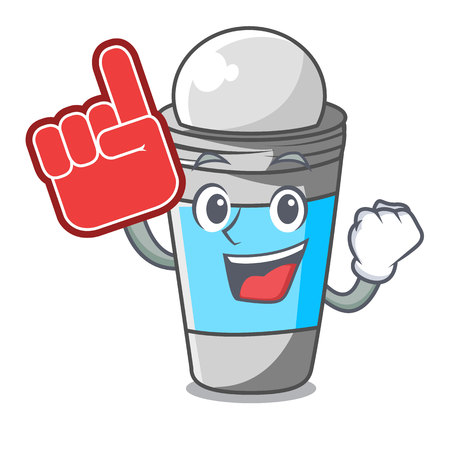 Foam finger roll on deodorant isolated with cartoon vector illustration