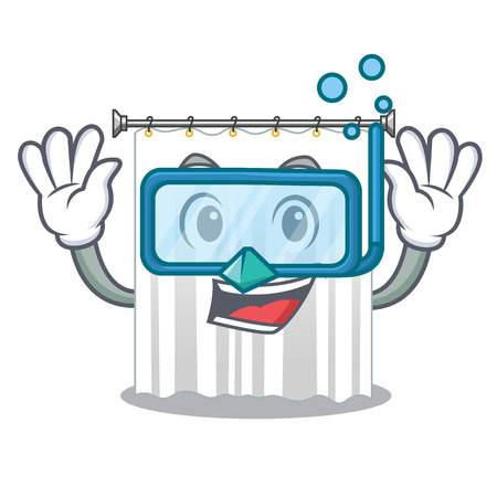 Diving shower curtains in the character bathrooms vector illustration