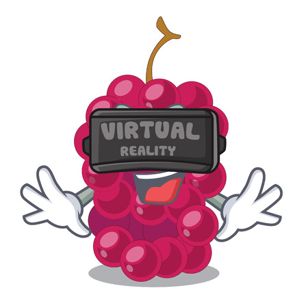Virtual reality mulbery fruit slices above mascot bowl vector illustration