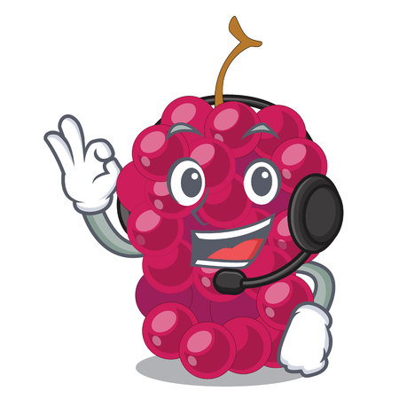 With headphone mulbery fruit isolated with the cartoons vector illustration