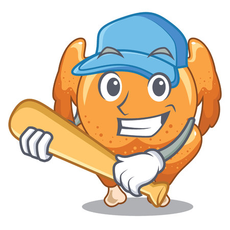 Playing baseball roast chicken on a mascot plate vector illustration Ilustração