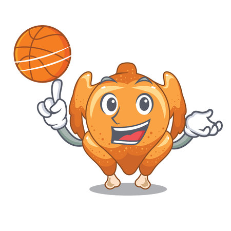 With basketball roast chicken on a mascot plate vector illustration Ilustração