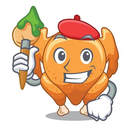 Artist roast chicken on a mascot plate vector illustration
